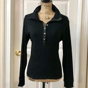 Chaps sexy cotton black knit top